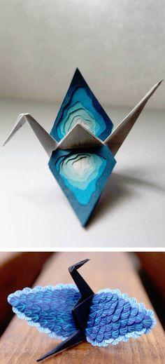 Paper crane origami // origami // paper art // paper folding // paper craft