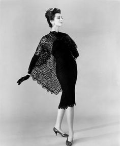 1960s Carmen del'Orefice - Black Dress with Lace Cape
