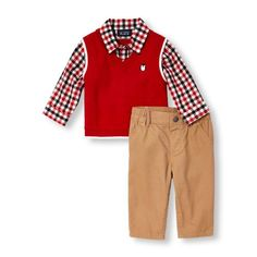 Newborn Baby Boys Long Sleeve Faux-Layered Sweater Vest And Chino Pants Set - Red - The Children's Place