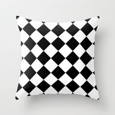 Diamond Black & White Throw Pillow by Beautiful Homes - Cover x with pillow insert - Indoor Pillow White Throws, White Throw Pillows, Fluffy Pillows, Throw Cushions, Couch Pillows, Designer Throw Pillows, Down Pillows, Floor Pillows, White Couches
