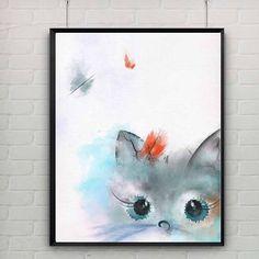 poster instant download watercolor cat cat wall art cat