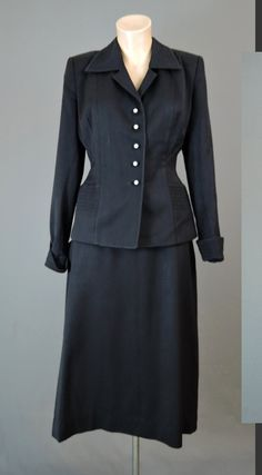 1950s Black Gabardine Tailored Suit, Tiny Decorative Buttons, 37 inch bust, 27 waist - dandelionvintage