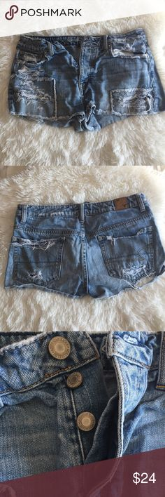 American Eagle Distressed Hi-Rise Denim Shorts American Eagle Distressed Hi-Rise Denim Shorts/cut offs in size 6. Light wash, super distressed. Some patchwork near bottom. Four button closure.  The bottom of the back right pocket came distressed but the rip is larger now (can see in second picture)  Cute with a crop top and converse!! [A73] American Eagle Outfitters Shorts Jean Shorts