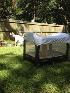 Never would have thought of this!  Fitted sheet over the pack n play to keep bugs out and provide some shade