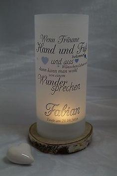 Windlicht zur Taufe, Geburt, Geschenk f, 2 Stück,Tischdekoration, Baby, Farbwahl