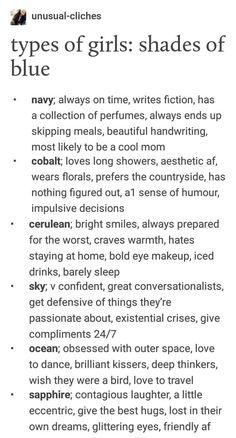 Types of girls/blues Navy definitely 💙💙 Book Writing Tips, Writing Help, Writing Prompts, Poetry Prompts, Writing Ideas, Types Of Girls, Types Of People, Mbti, Types Of Aesthetics