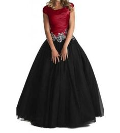 Lovely elegant plus size ball gown formal prom junior, senior dresses with sleeves for modest wear