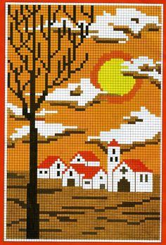 PAISAJES EN PUNTO DE CRUZ (pág. 6) | Aprender manualidades es facilisimo.com Cross Stitch House, Mini Cross Stitch, Modern Cross Stitch Patterns, Cross Stitch Designs, Cross Stitching, Cross Stitch Embroidery, Graph Paper Art, Cross Stitch Landscape, Pixel Pattern