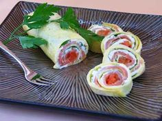 Thin egg roll-up with cream cheese, ham, lettuce and the surprise sweetness of dried chopped apricots #recipe  | Carefree Cooking Magazine