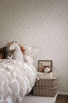 Dot Wallpaper in Off-White by ferm LIVING Handprinted polka dot forms reminiscent of potato stamps a Ferm Living Kids, Ferm Living Wallpaper, Wallpaper Off White, Latest Bed, Bed Linen Design, Cot Bedding, Burke Decor, Cotton Duvet, Pet Beds