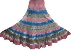 Boho Hippie long Tie Dye skirt. Elasticized waist and soft cotton lining under it free-flowing hips for an easy, perfect fit.Crinkled tie dye maxi skirt with pretty color shades of pink and blue,brown tie-dye design for your summer outfits .