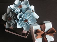 Origami Kusudama Flowers  ( Chocolate Brown and Blue Table Decor for Weddings ). $35,00, via Etsy.