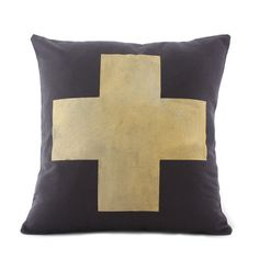 Gold Cross Cushion  www.cloudninecreative.co.nz
