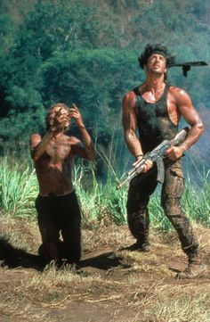 Rambo: First Blood Part II - Publicity still of Sylvester Stallone & Andy Wood Film Rambo, Rambo 3, John Rambo, Action Movie Stars, Action Movies, Top Movies, Great Movies, Sylvester Stallone Rambo, Silvester Stallone