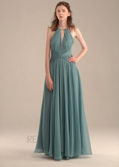2015 Teal Halter Bridesmaid dress, Dusty blue Wedding dress, Long Chiffon Party dress,V back Formal dress, Prom dress Floor length (S067)