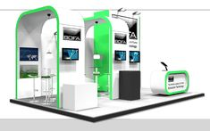 System: Vertro - a design to suit a 6x4 space open to 3 sides incorporating multiple screens, storage and a reception counter. Pod-Exhibition