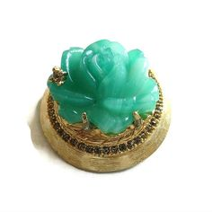 Faux Jade Molded Glass Rose Flower Brooch Vintage 3-D Dimensional by MyVintageJewels on Etsy #freeshipping www.myvintagejewels.etsy.com