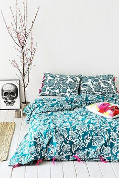Stamped Blossom Double Duvet Cover in Teal - Urban Outfitters