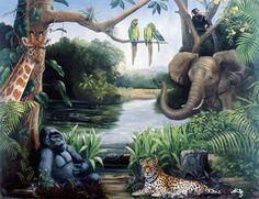Jungle Friends (Hetzer) Mural - Karen Hetzer| Murals Your Way