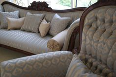 French Tapestry Upholstery Fabric Caswells Antique Furniture Empire Couch Gents Chair