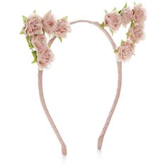 Accessorize Pretty Flower Cat Ears Alice Band ($16) ❤ liked on Polyvore featuring accessories, hair accessories, hair bands accessories, head wrap headband, cat ears headband, head wrap hair accessories and embellished headbands