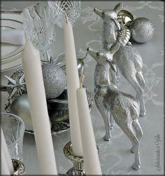 Mesa de Natal em branco e Prata - Silver and white Christmas table