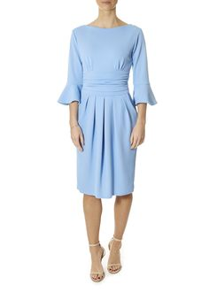'Tammy' 3/4 Sleeve Powder Blue Dress   Jessimara London Long Sleeve Midi Dress, Bell Sleeve Dress, Powder Blue Dress, Blue Dresses, Dresses For Work, London Blue, Blue Blouse, Green Dress, Clothes For Women