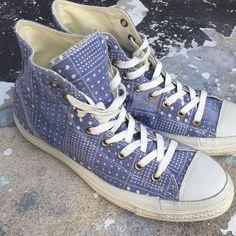 aa431b540548 Converse All Stars Blue High Top Tennis Shoes Peace   Love