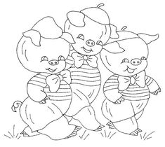 three little pigs  #free #vintage #embroidery #pattern