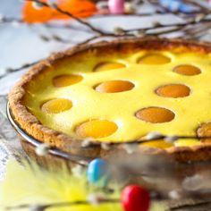 Rahkapiirakka on mutkaton pääsiäisherkku moneen makuun. Aprikoosit täplittävät pinnan kauniisti. Täytteeseen makua antaa appelsiinilla maustettu rahka.