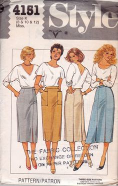 Style 4151 Straight Skirts Pattern 1980s Vintage Sewing Pattern Size 8 10 12 UNCUT Factory Folded