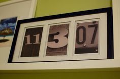 great idea for any significant date. id even put a picture of what that date represents in a smaller 4th frame or a 4 board frame.