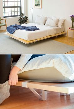 From the creators of the incredibly simple & smart Floyd Leg Table comes a platform bed frame that's equally impressive. It's a modular design, engineered for easy transport & simple assembly. Strong but lightweight honeycomb core wood panels are supported by metal leg clips that distribute weight evenly and provide a sturdy, stable sleep surface. Kits available for Twin, Queen/Full & King sizes.