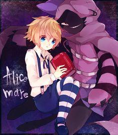 Tags: Fanart, Pixiv, PNG Conversion, Fanart From Pixiv, Pixiv Id 5836497, Allen (Alice Mare), Alice Mare, Cheshire Cat (Alice Mare)