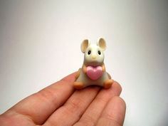 Little Grey Love Mouse with Pink Heart Ornament