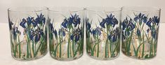 4 Vintage Culver Blue Gold Iris Double Old Fashioned Glasses Mid Century Barware  | eBay