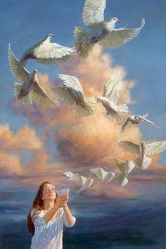 blue - woman with doves - transformation - surrealism - painting - Leslie Balleweg Art And Illustration, Fantasy Kunst, Fantasy Art, Prophetic Art, Surrealism Painting, Fine Art, Surreal Art, Figure Painting, Beautiful Birds
