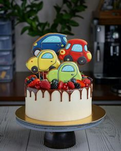 Birthday Cake Easy Decorating Boys 44 New Ideas Toddler Birthday Cakes, Baby Birthday Cakes, Baby Boy Cakes, Cakes For Boys, Cake Cookies, Cupcake Cakes, Cupcake Videos, Partys, Drip Cakes