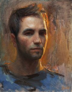 Ignat Ignatov, Self Portrait in Rim Light, Oil, 18x14
