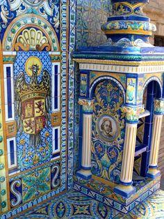 Azulejos de. la plaza de España de Sevilla