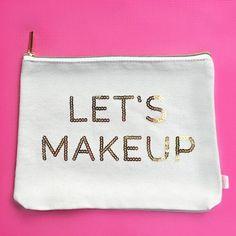 Let's Makeup Gold Sequins Makeup Bag - My Best Makeup List Diy Makeup Bag, Makeup Bag Organization, Makeup List, Cute Makeup, Makeup Looks, Makeup Stuff, Makeup Pouch, Makeup Geek, Beauty Stuff