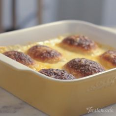 Recipe with video instructions: How to make Baked Croque Monsieur Ingredients: 6 mini brioches, 2 tbsp butter, 3 slices ham, 100g grated cheese, 600ml bechamel sauce, 30g grated parmesan