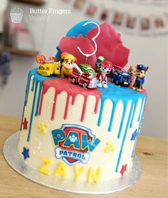 8 inch Eton Mess flavoured sponge and buttercream filling decorated in a paw . - Paw Patrol Themed Birthday Party -An 8 inch Eton Mess flavoured sponge and buttercream filling decorated in a paw . 3rd Birthday Party For Boy, Baby Boy Birthday Cake, 4th Birthday Cakes, Birthday Ideas, Paw Payrol Birthday, Women Birthday, Cake Baby, Bolo Do Paw Patrol, Torta Paw Patrol