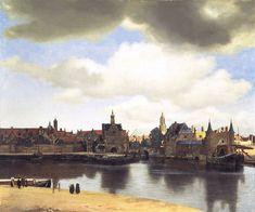 - Johannes Vermeer - Stadsgezicht op delft - 1659 en 1662 - Delft - het heeft een eenvoudige compositie zonder sterke diagonalen en opvallende figuren die gebruikelijk waren, ook heeft het krachtige kleuren en is het erg realistisch. De donkere wolken boven in werken als  repoussoir.