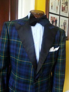 Wool Tartan Dinner Jacket w/ Lt Blue Cotton Sateen Shirt and Wool Crepe Self Tie Bow Tie.