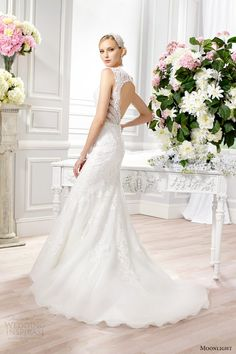moonlight bridal couture spring 2015 style h1271 sleeveless lace wedding dress keyhole back train side view