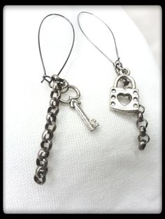 Lock and Key Earrings with Rolo Gunmetal Grey by PalindromeCircus, $16.00
