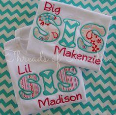 Big Sis Lil Sis Applique Shirt by ThreadsofParadise on Etsy, $23.95