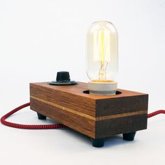 Lamp 'Turn', Edison bulb and Teak wood by ZzzDesign on Etsy