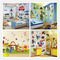 Many styles to mix!Free shipping,5pcs PVC removable Cartoon wall stickers,50*70cm fashion tree house sticker for children room $19.52